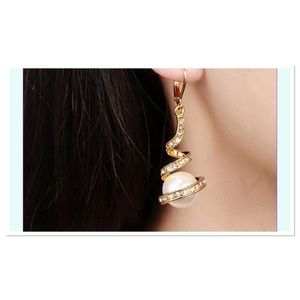 GOLD PLATED Wrap Around Pearl Dangle Earrings
